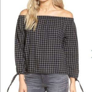 🆕Madewell Plaid Off The Shoulder Top
